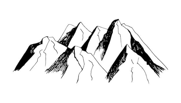Schattige hand getekende vector berg en bomen illustraties travel design