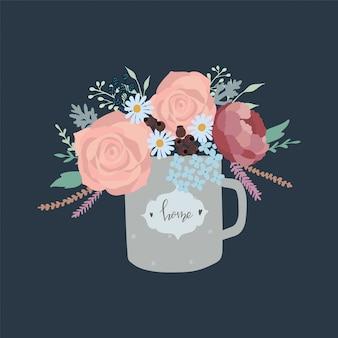 Schattige hand getrokken bloemen in een vintage beker.