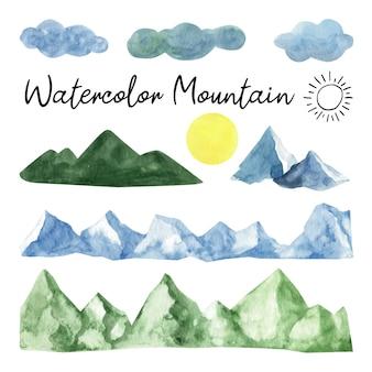 Schattige handgeschilderde aquarel berg en bomen clipart