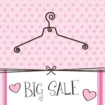Schattige hanger met grote verkoop tekst over roze achtergrond vector