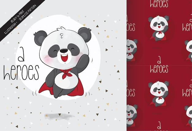 Schattige helden baby panda karakter met naadloos patroon