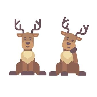 Schattige herten gaan zitten. kerst karakter vlakke afbeelding. rendier moe na het werk