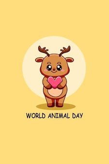 Schattige herten met wereld dieren dag tekst cartoon afbeelding