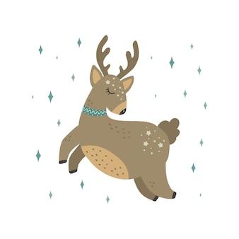 Schattige herten vector print in scandinavische stijl handgetekende vectorillustratie voor posters