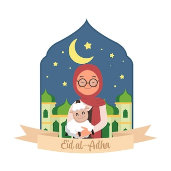 Schattige hijab vrouw met een schaap in haar hand eid al adha offer platte vector cartoon design