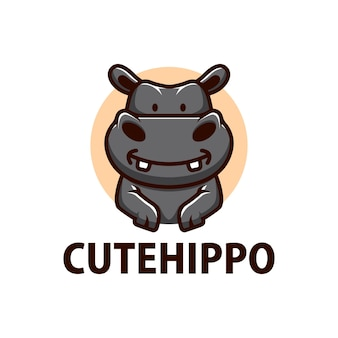 Schattige hippo cartoon logo