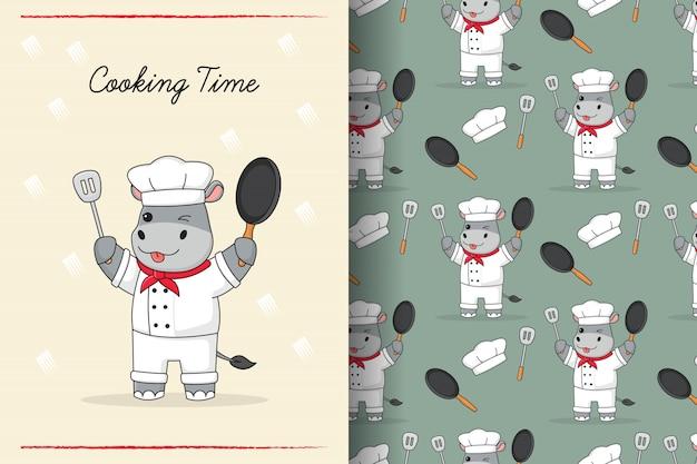 Schattige hippo chef-kok naadloze patroon en kaart