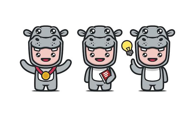 Schattige hippo-mascotte met schoolstudent thema ontwerp illustratie set met blauwe achtergrond with