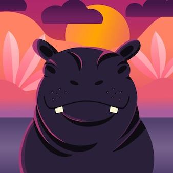 Schattige hippo zonsondergang. hand getekend wild dier. nijlpaard.