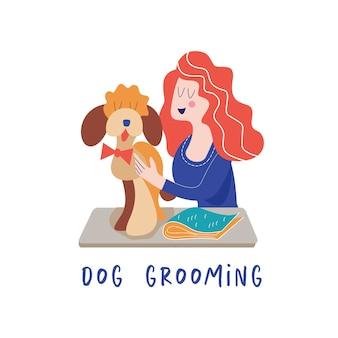 Schattige hond bij trimsalon vrouw die voor de hond zorgt hondenverzorgingsconcept