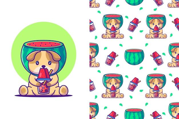 Schattige hond cartoon en watermeloen met naadloos patroon