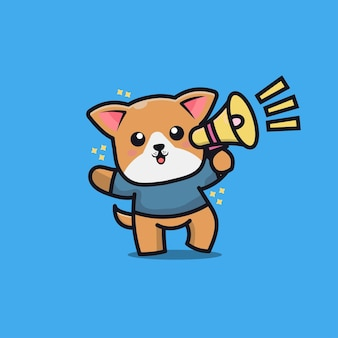 Schattige hond cartoon pictogram illustratie
