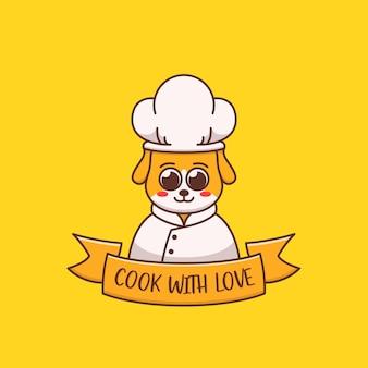 Schattige hond chef-kok logo concept illustratie