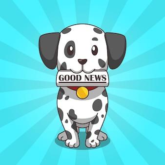 Schattige hond dalmatiër brengt een krant goed nieuws