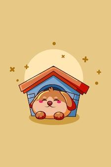 Schattige hond dier cartoon illustratie