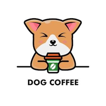 Schattige hond drink koffiekopje cartoon dier logo koffie illustratie