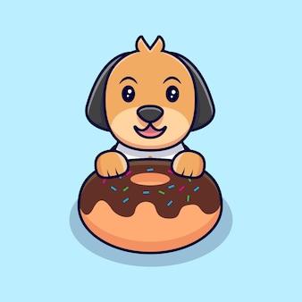 Schattige hond en grote chocolade dessert cartoon pictogram illustratie. platte cartoon stijl