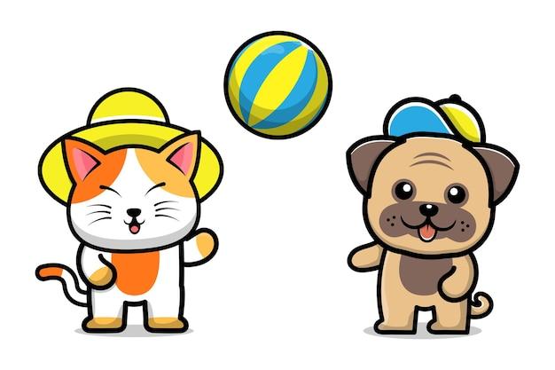 Schattige hond en kat spelen bal cartoon afbeelding