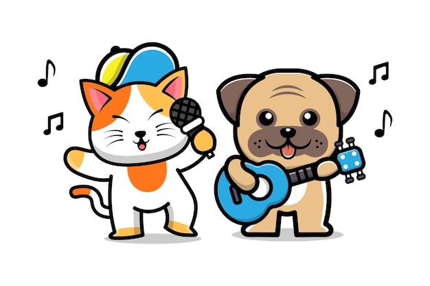 Schattige hond en kat vriend cartoon afbeelding