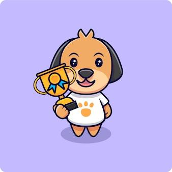 Schattige hond en trofee cartoon pictogram illustratie. platte cartoon stijl