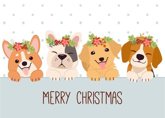 Schattige hond en vrienden met bloemenkrans die prettige kerstdagen wensen