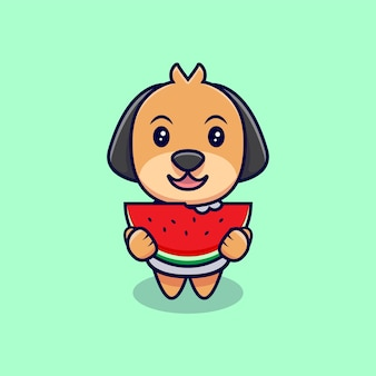 Schattige hond eten watermeloen cartoon pictogram illustratie. platte cartoon stijl
