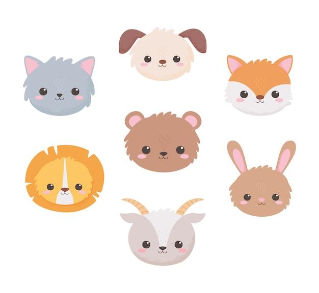 Schattige hond geit beer konijn leeuw vos en kat hoofden tekenfilm dieren vector illustratie