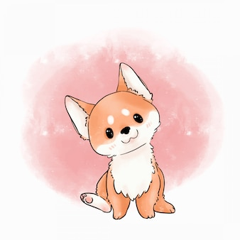 Schattige hond illustratie. shiba inu dog aquarel vector.