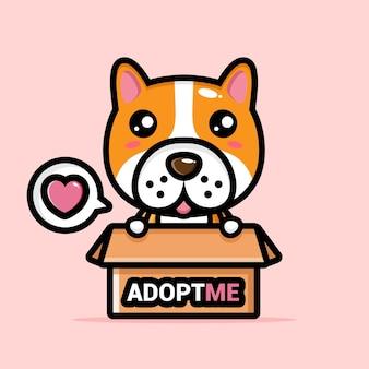 Schattige hond in de adoptiebox