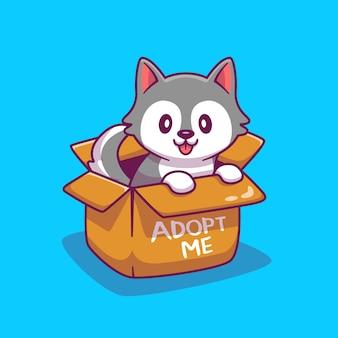 Schattige hond in doos cartoon afbeelding. dierlijke pictogram concept