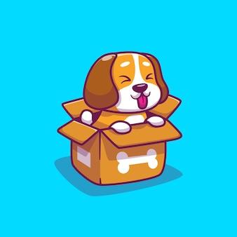 Schattige hond in doos