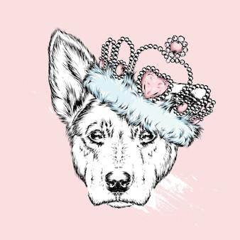Schattige hond in een kroon. vector illustratie.