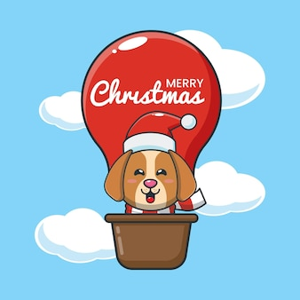 Schattige hond in luchtballon leuke kerst cartoon afbeelding