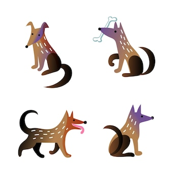 Schattige hond in verschillende pose-tekenset