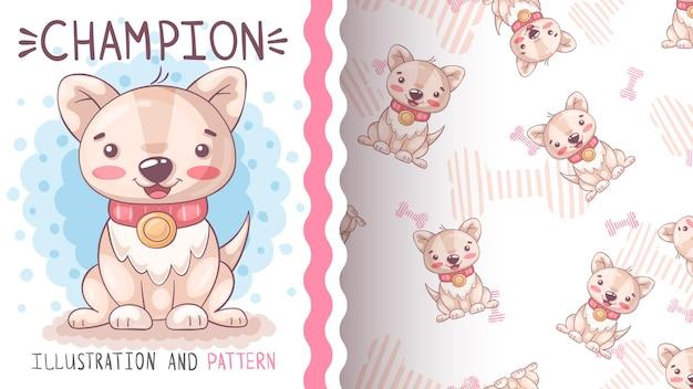 Schattige hond kampioen naadloze patroon