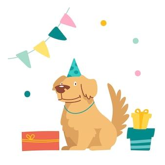 Schattige hond karakter vieren verjaardag. grappig pluizig huisdier in feestelijke hoed zittend met ingepakte cadeautjes in ingerichte kamer met vlaggenslinger en confetti. feestviering. cartoon vectorillustratie