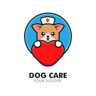 Schattige hond knuffelen hart zorg logo dier logo ontwerp illustratie