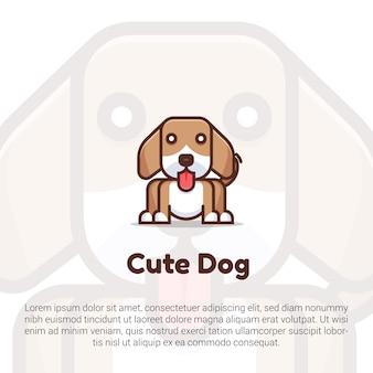 Schattige hond logo sjabloon