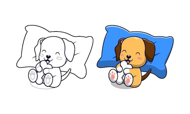 Schattige hond met botten cartoon kleurplaten voor kinderen