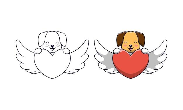 Schattige hond met liefde engel cartoon kleurplaten voor kinderen