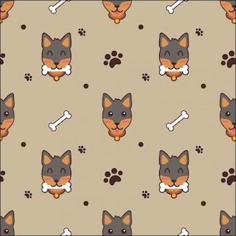 Schattige hond naadloze patroon achtergrond