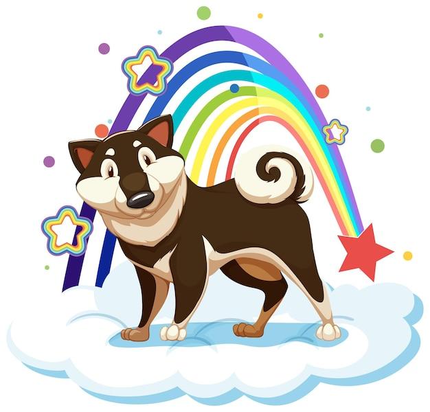 Schattige hond op de wolk met regenboog Gratis Vector