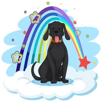 Schattige hond op de wolk met regenboog