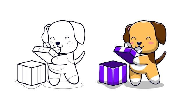 Schattige hond opent geschenkdoos cartoon kleurplaten voor kinderen
