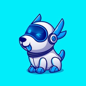 Schattige hond robot stripfiguur. dierlijke technologie geïsoleerd.
