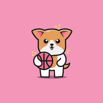 Schattige hond spelen basketbal cartoon pictogram illustratie