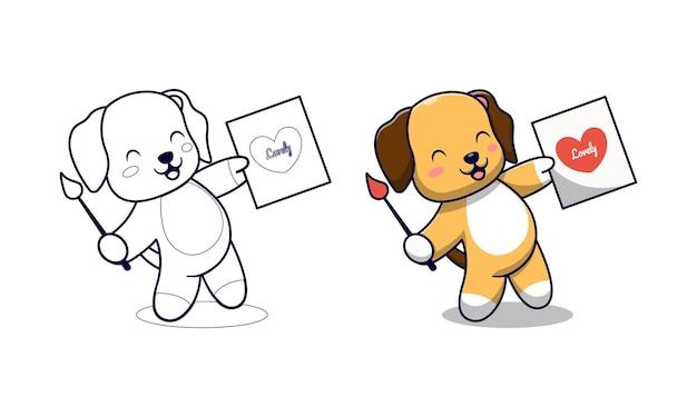 Schattige hond tekening liefde cartoon kleurplaten voor kinderen