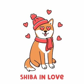 Schattige hond van het japanse ras shiba inu in rode muts en sjaal verliefd op harten in ogen