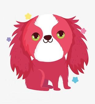 Schattige hond vriendelijke binnenlandse cartoon dier, huisdieren illustratie