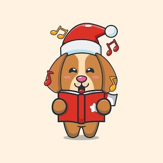 Schattige hond zingt een kerstliedje leuke kerst cartoon illustratie